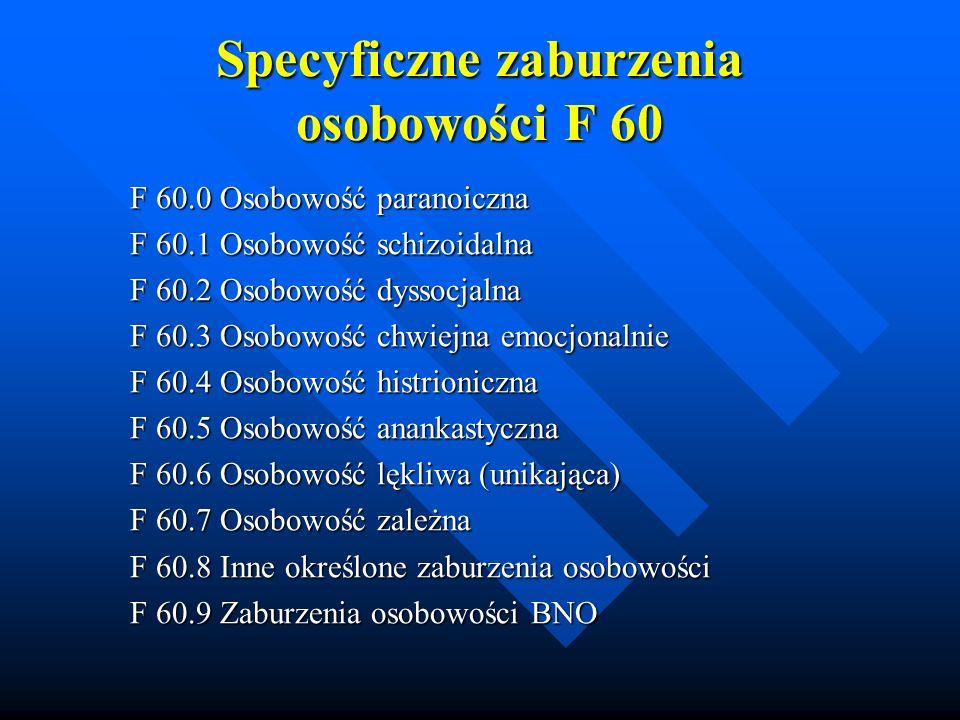 Specyficzne zaburzenia osobowości F 60 F 60.0 Osobowość paranoiczna F 60.1 Osobowość schizoidalna F 60.2 Osobowość dyssocjalna F 60.3 Osobowość chwiej