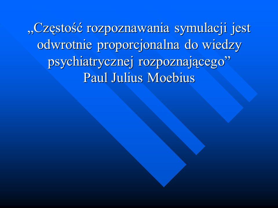 Częstość rozpoznawania symulacji jest odwrotnie proporcjonalna do wiedzy psychiatrycznej rozpoznającego Paul Julius Moebius