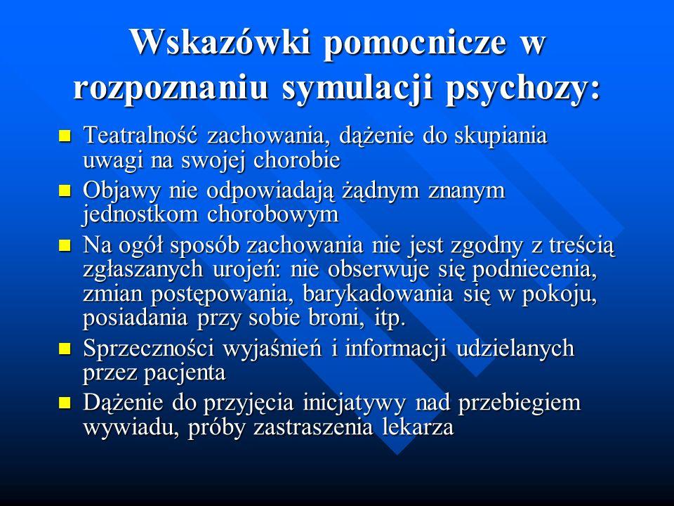 Wskazówki pomocnicze w rozpoznaniu symulacji psychozy: Teatralność zachowania, dążenie do skupiania uwagi na swojej chorobie Teatralność zachowania, d