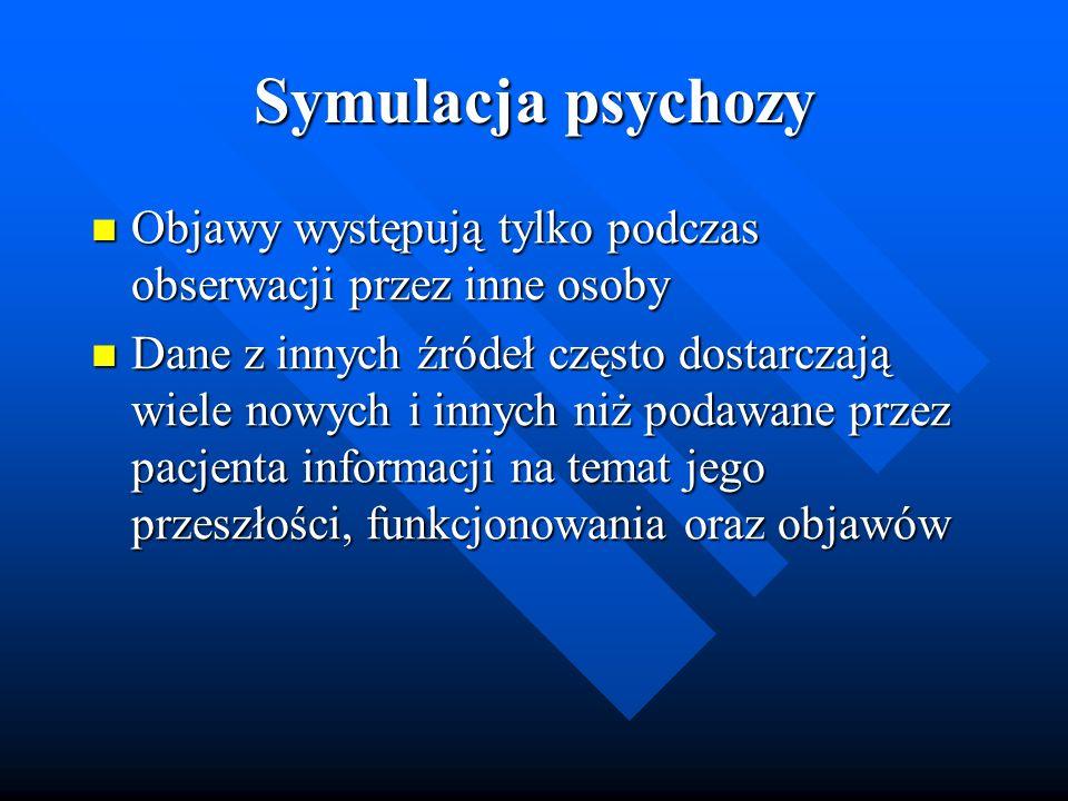 Symulacja psychozy Objawy występują tylko podczas obserwacji przez inne osoby Objawy występują tylko podczas obserwacji przez inne osoby Dane z innych