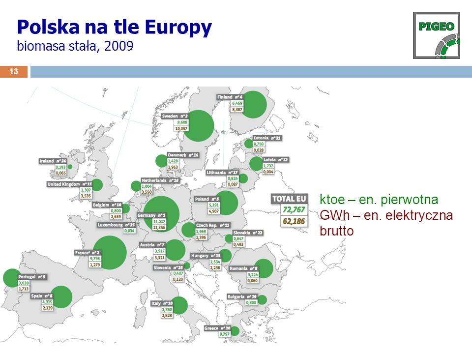 13 Polska na tle Europy biomasa stała, 2009 ktoe – en. pierwotna GWh – en. elektryczna brutto