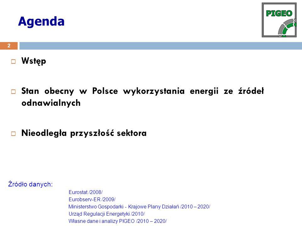 Agenda Wstęp Stan obecny w Polsce wykorzystania energii ze źródeł odnawialnych Nieodległa przyszłość sektora 2 Źródło danych: Eurostat /2008/ Eurobser