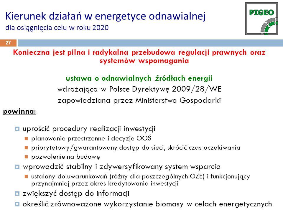 27 Kierunek działań w energetyce odnawialnej dla osiągnięcia celu w roku 2020 Konieczna jest pilna i radykalna przebudowa regulacji prawnych oraz syst