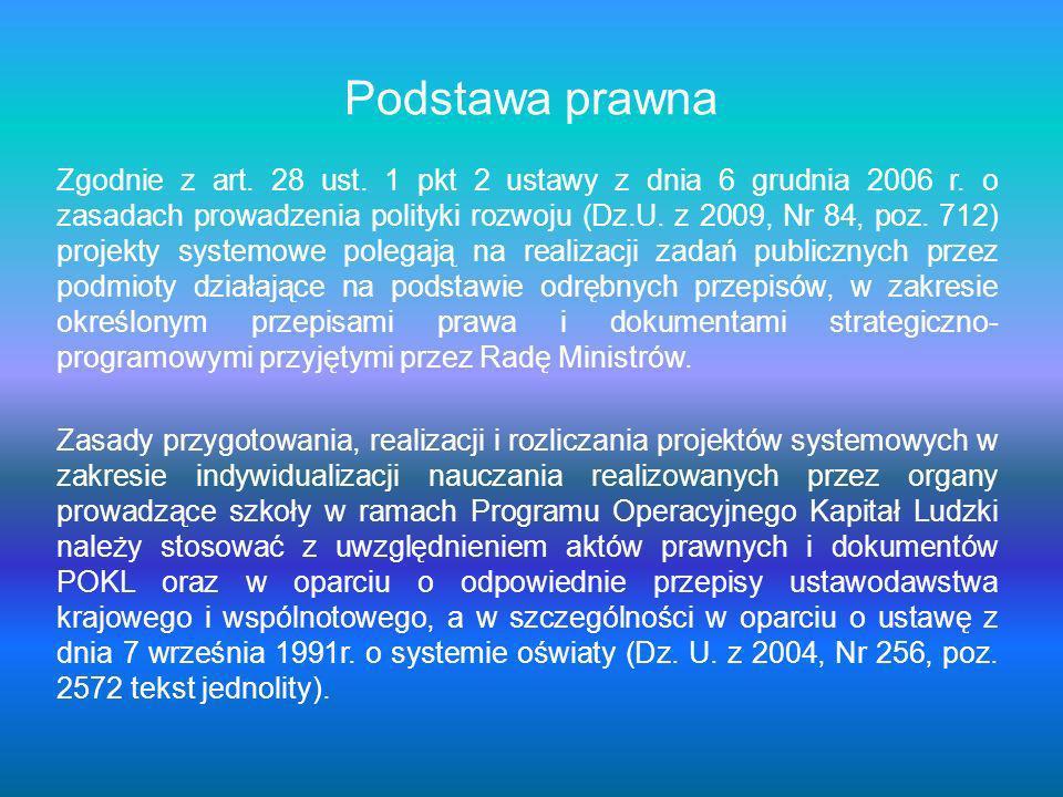 Podstawa prawna Zgodnie z art. 28 ust. 1 pkt 2 ustawy z dnia 6 grudnia 2006 r. o zasadach prowadzenia polityki rozwoju (Dz.U. z 2009, Nr 84, poz. 712)
