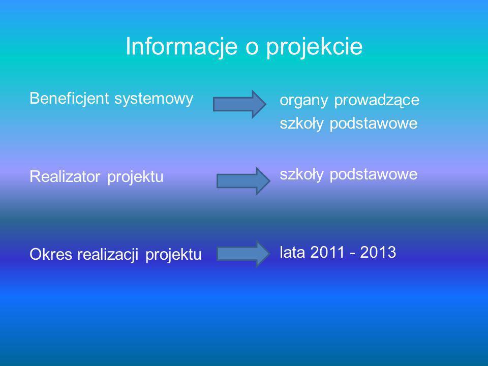 Informacje o projekcie Beneficjent systemowy Realizator projektu Okres realizacji projektu organy prowadzące szkoły podstawowe lata 2011 - 2013