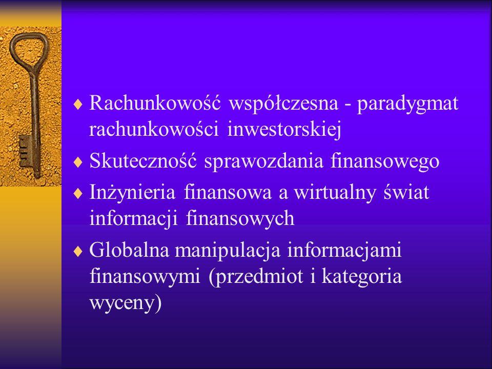 Rachunkowość współczesna - paradygmat rachunkowości inwestorskiej Skuteczność sprawozdania finansowego Inżynieria finansowa a wirtualny świat informac