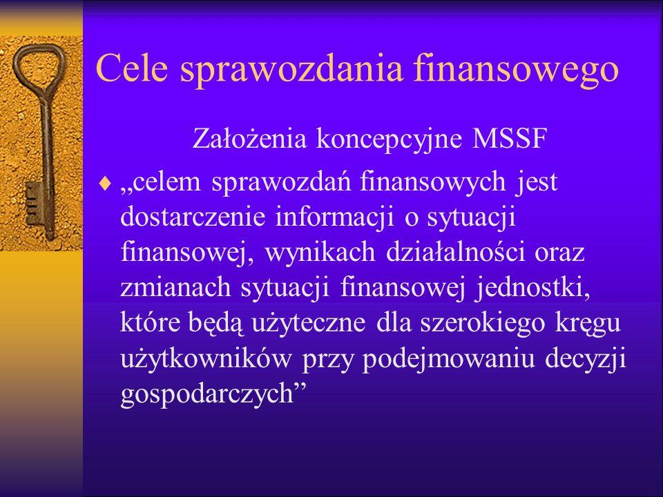 Cele sprawozdania finansowego Założenia koncepcyjne MSSF celem sprawozdań finansowych jest dostarczenie informacji o sytuacji finansowej, wynikach dzi