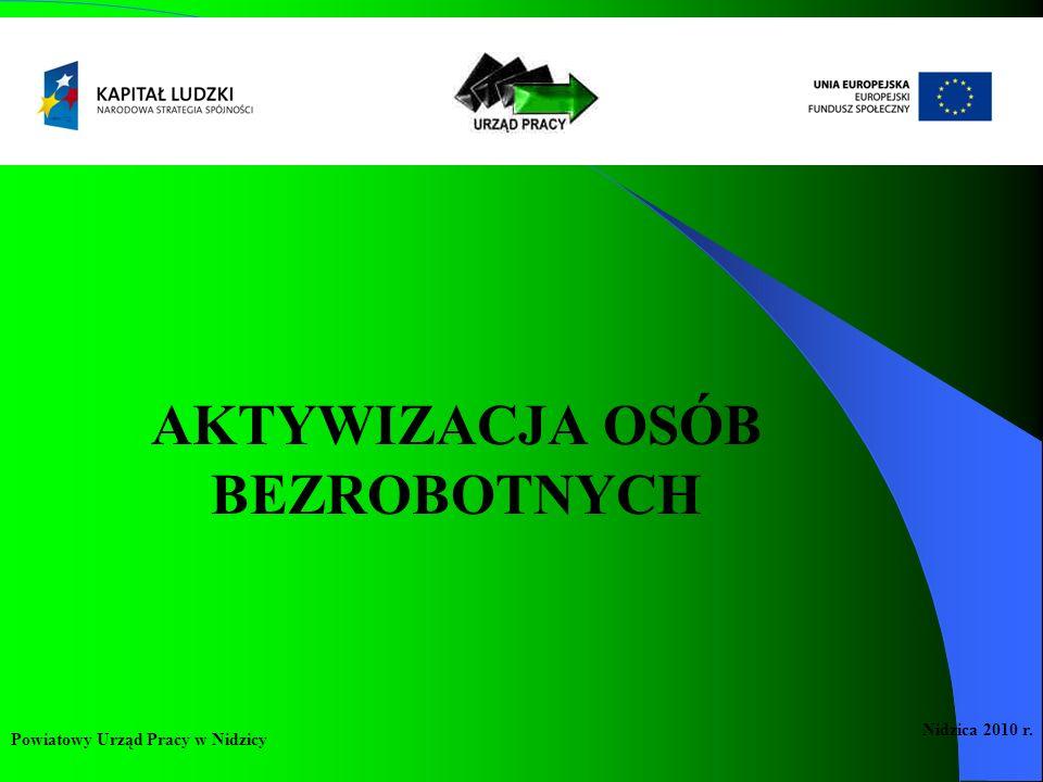 USŁUGI RYNKU PRACY: pośrednictwo pracy poradnictwo zawodowe i informacja zawodowa pomoc w aktywnym poszukiwaniu pracy organizacja szkoleń Powiatowy Urząd Pracy w Nidzicy Nidzica 2010 r.