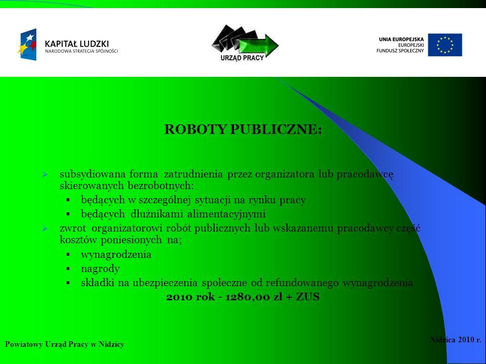 ROBOTY PUBLICZNE: subsydiowana forma zatrudnienia przez organizatora lub pracodawcę skierowanych bezrobotnych: będących w szczególnej sytuacji na rynk