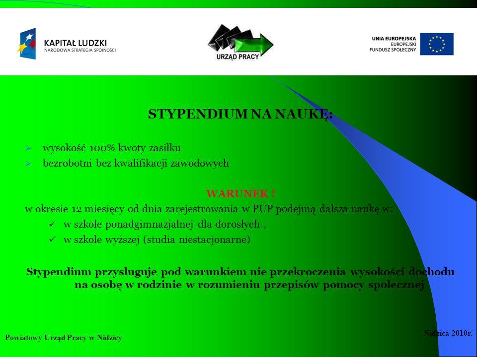 STYPENDIUM NA NAUKĘ: wysokość 100% kwoty zasiłku bezrobotni bez kwalifikacji zawodowych WARUNEK ! w okresie 12 miesięcy od dnia zarejestrowania w PUP