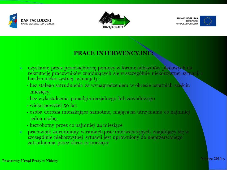 PRACE INTERWENCYJNE: uzyskanie przez przedsiębiorcę pomocy w formie subsydiów płacowych na rekrutację pracowników znajdujących się w szczególnie nieko