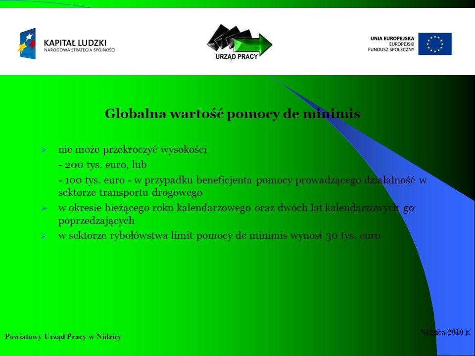 Globalna wartość pomocy de minimis nie może przekroczyć wysokości - 200 tys. euro, lub - 100 tys. euro - w przypadku beneficjenta pomocy prowadzącego