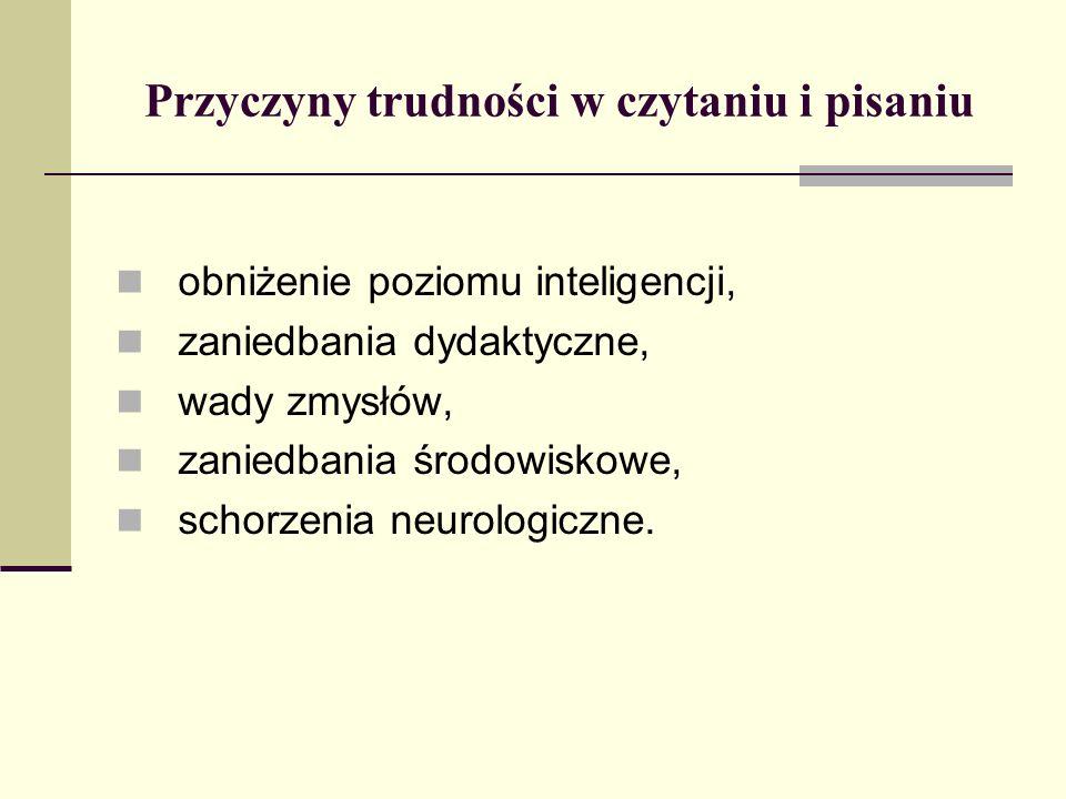 Przyczyny trudności w czytaniu i pisaniu obniżenie poziomu inteligencji, zaniedbania dydaktyczne, wady zmysłów, zaniedbania środowiskowe, schorzenia n