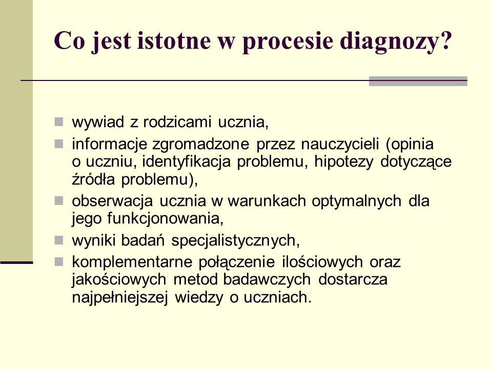Co jest istotne w procesie diagnozy? wywiad z rodzicami ucznia, informacje zgromadzone przez nauczycieli (opinia o uczniu, identyfikacja problemu, hip