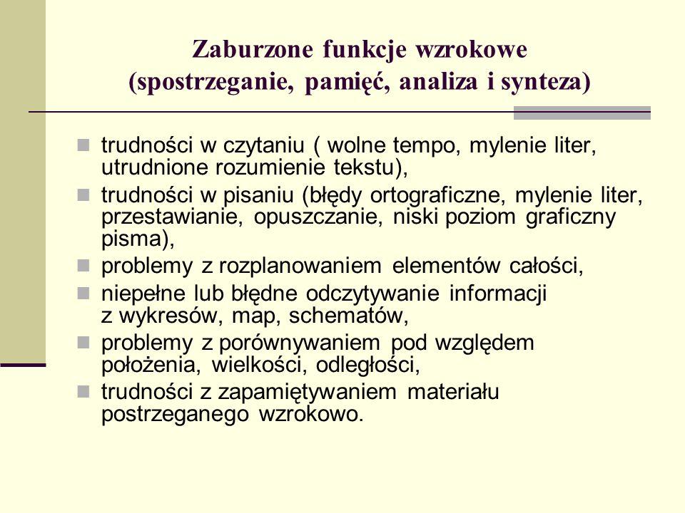 Zaburzone funkcje wzrokowe (spostrzeganie, pamięć, analiza i synteza) trudności w czytaniu ( wolne tempo, mylenie liter, utrudnione rozumienie tekstu)