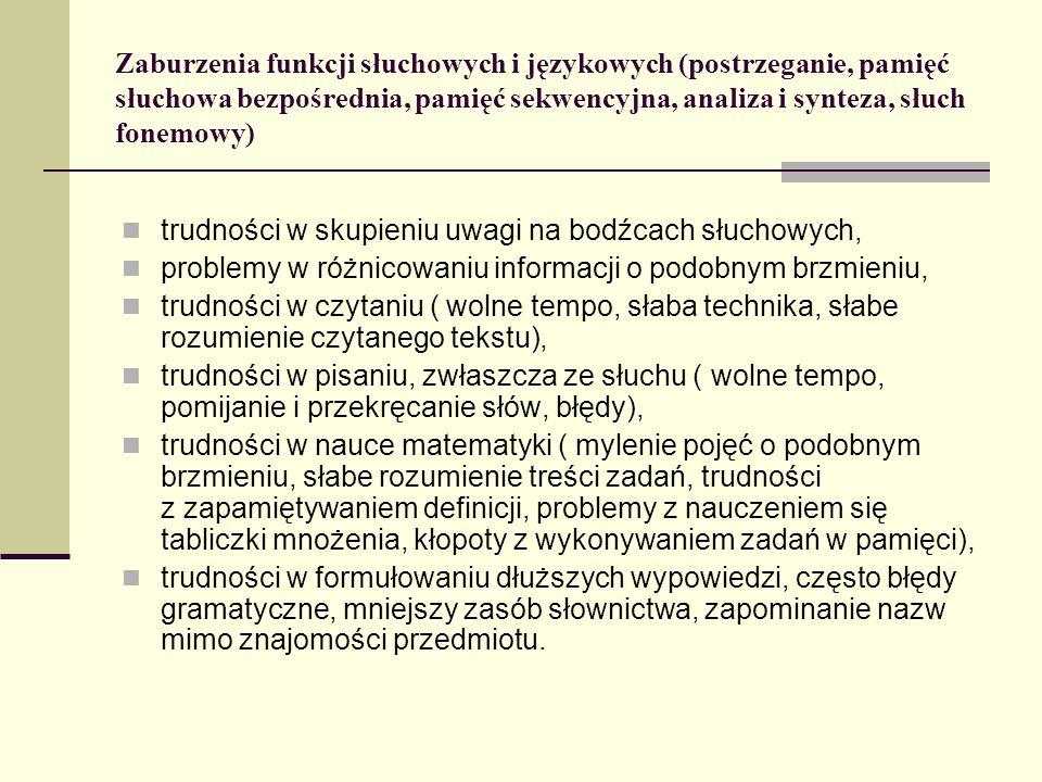 Zaburzenia funkcji słuchowych i językowych (postrzeganie, pamięć słuchowa bezpośrednia, pamięć sekwencyjna, analiza i synteza, słuch fonemowy) trudnoś