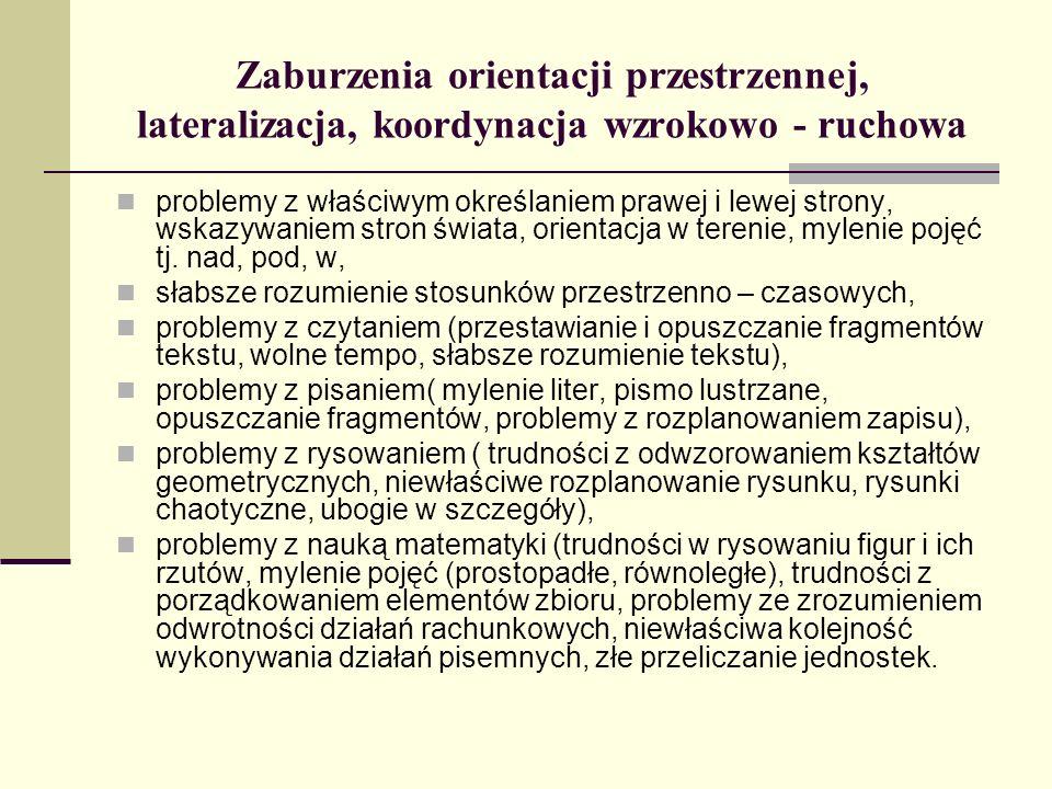 Zaburzenia orientacji przestrzennej, lateralizacja, koordynacja wzrokowo - ruchowa problemy z właściwym określaniem prawej i lewej strony, wskazywanie