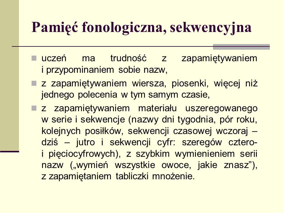 Pamięć fonologiczna, sekwencyjna uczeń ma trudność z zapamiętywaniem i przypominaniem sobie nazw, z zapamiętywaniem wiersza, piosenki, więcej niż jedn