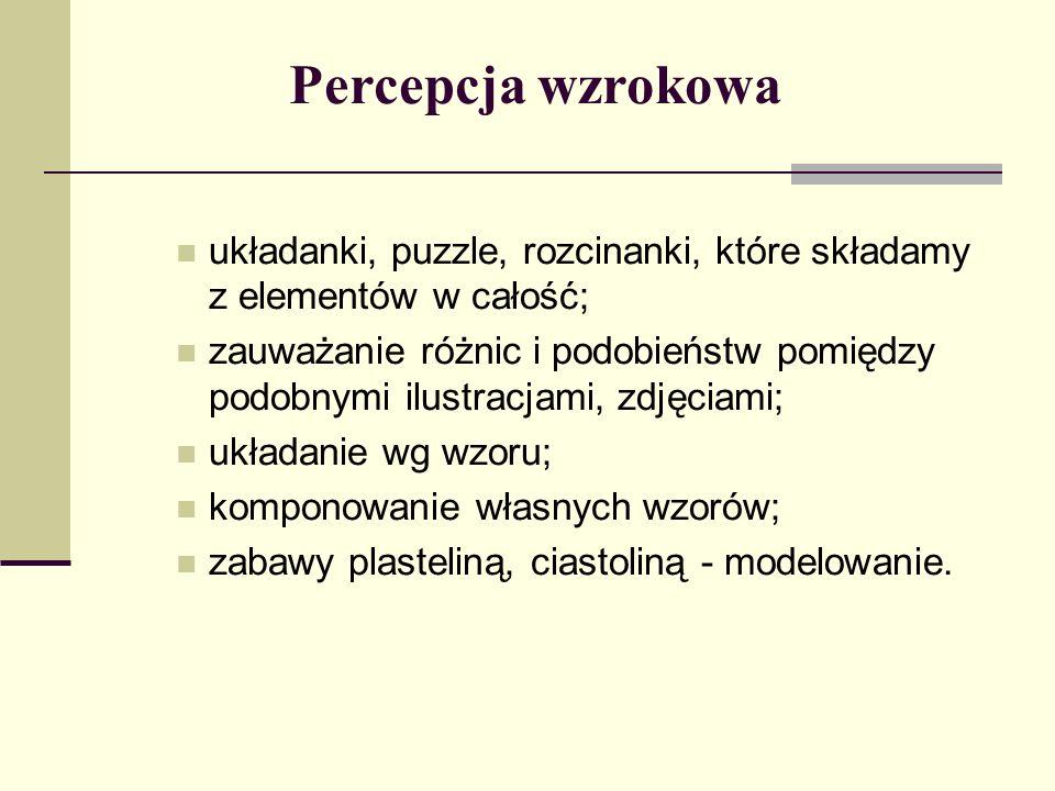Percepcja wzrokowa układanki, puzzle, rozcinanki, które składamy z elementów w całość; zauważanie różnic i podobieństw pomiędzy podobnymi ilustracjami