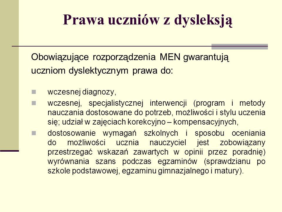 Prawa uczniów z dysleksją Obowiązujące rozporządzenia MEN gwarantują uczniom dyslektycznym prawa do: wczesnej diagnozy, wczesnej, specjalistycznej int