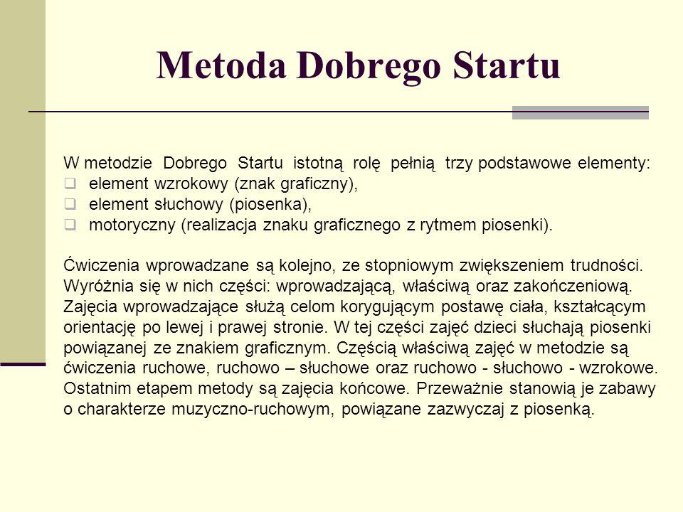 Metoda Dobrego Startu W metodzie Dobrego Startu istotną rolę pełnią trzy podstawowe elementy: element wzrokowy (znak graficzny), element słuchowy (pio