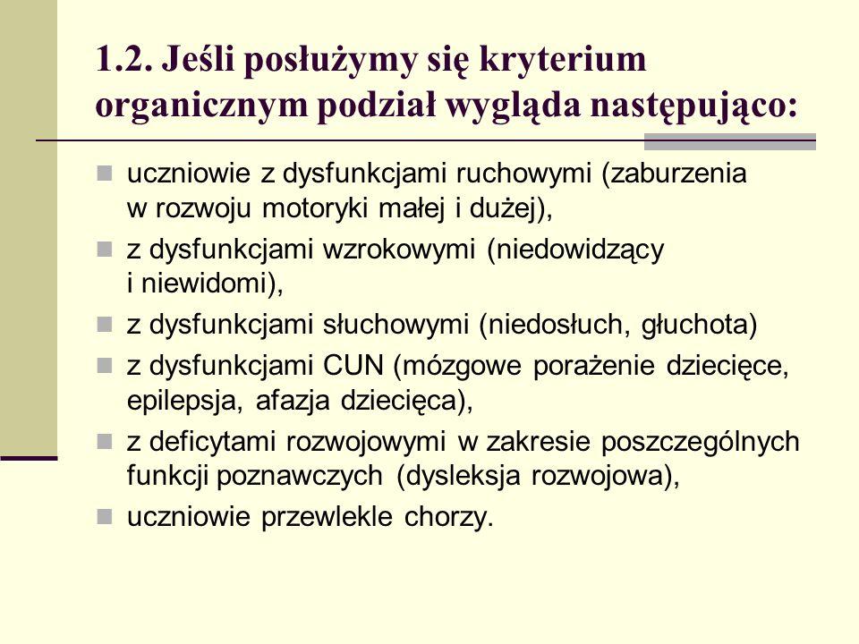 1.2. Jeśli posłużymy się kryterium organicznym podział wygląda następująco: uczniowie z dysfunkcjami ruchowymi (zaburzenia w rozwoju motoryki małej i
