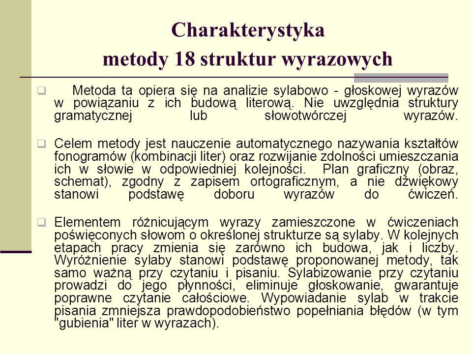 Charakterystyka metody 18 struktur wyrazowych Metoda ta opiera się na analizie sylabowo - głoskowej wyrazów w powiązaniu z ich budową literową. Nie uw