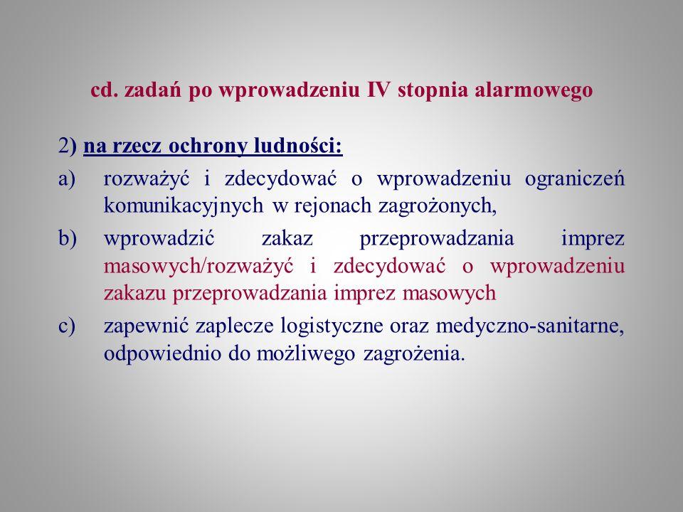 cd. zadań po wprowadzeniu IV stopnia alarmowego 2) na rzecz ochrony ludności: a)rozważyć i zdecydować o wprowadzeniu ograniczeń komunikacyjnych w rejo