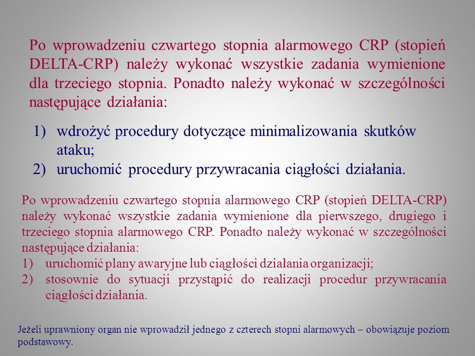 Po wprowadzeniu czwartego stopnia alarmowego CRP (stopień DELTA-CRP) należy wykonać wszystkie zadania wymienione dla trzeciego stopnia. Ponadto należy