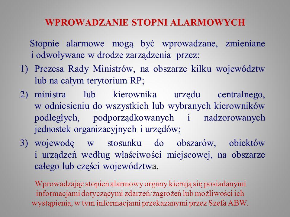 WPROWADZANIE STOPNI ALARMOWYCH Stopnie alarmowe mogą być wprowadzane, zmieniane i odwoływane w drodze zarządzenia przez: 1)Prezesa Rady Ministrów, na