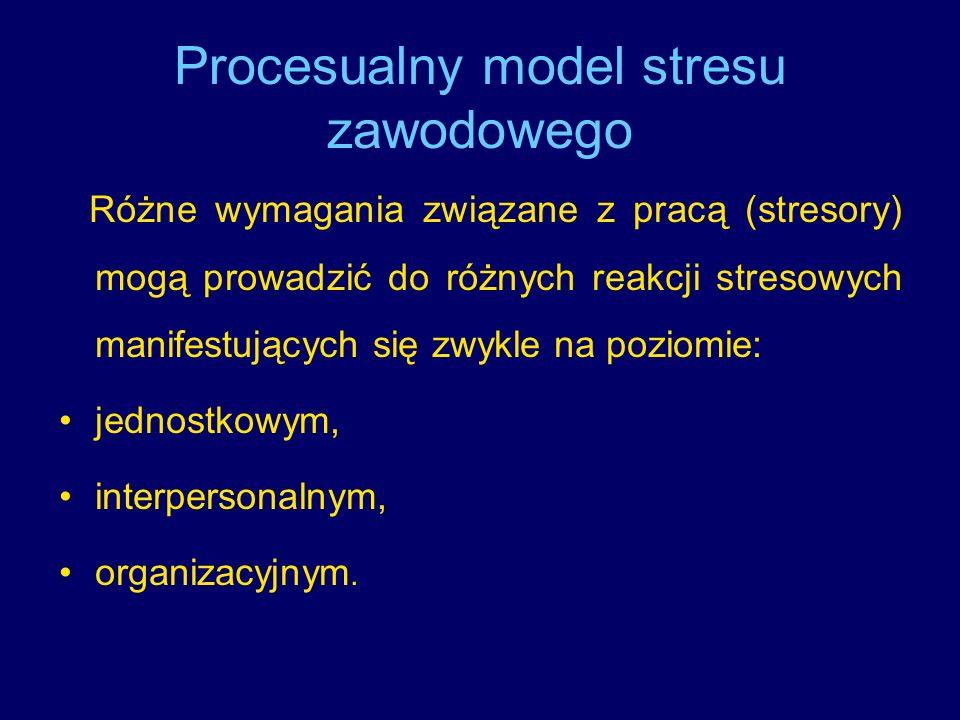 Procesualny model stresu zawodowego Różne wymagania związane z pracą (stresory) mogą prowadzić do różnych reakcji stresowych manifestujących się zwykl