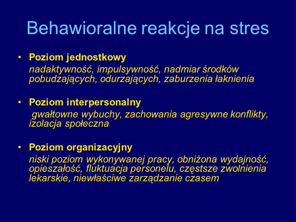 Behawioralne reakcje na stres Poziom jednostkowy nadaktywność, impulsywność, nadmiar środków pobudzających, odurzających, zaburzenia łaknienia Poziom