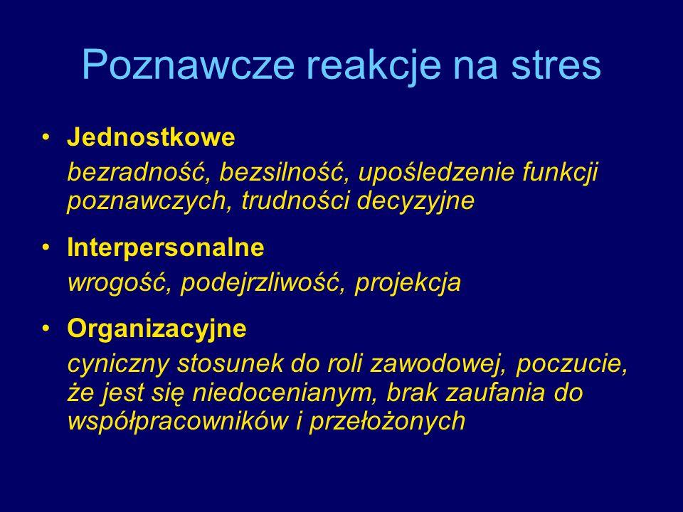 Poznawcze reakcje na stres Jednostkowe bezradność, bezsilność, upośledzenie funkcji poznawczych, trudności decyzyjne Interpersonalne wrogość, podejrzl