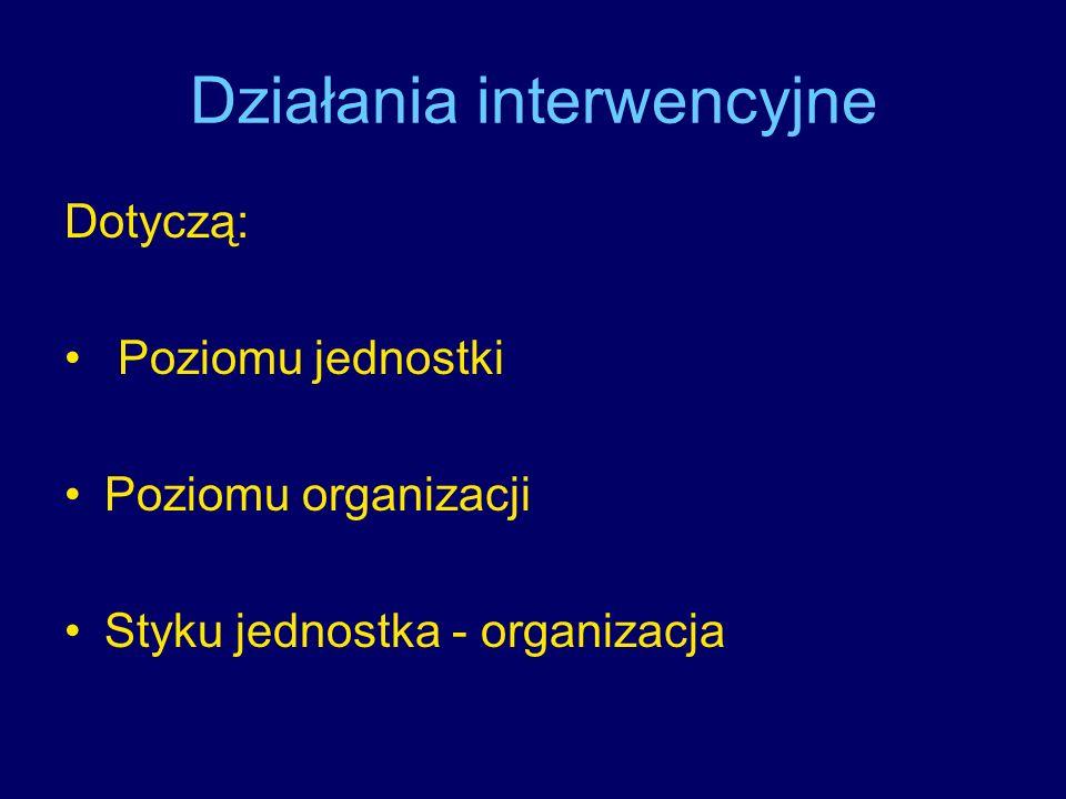 Działania interwencyjne Dotyczą: Poziomu jednostki Poziomu organizacji Styku jednostka - organizacja
