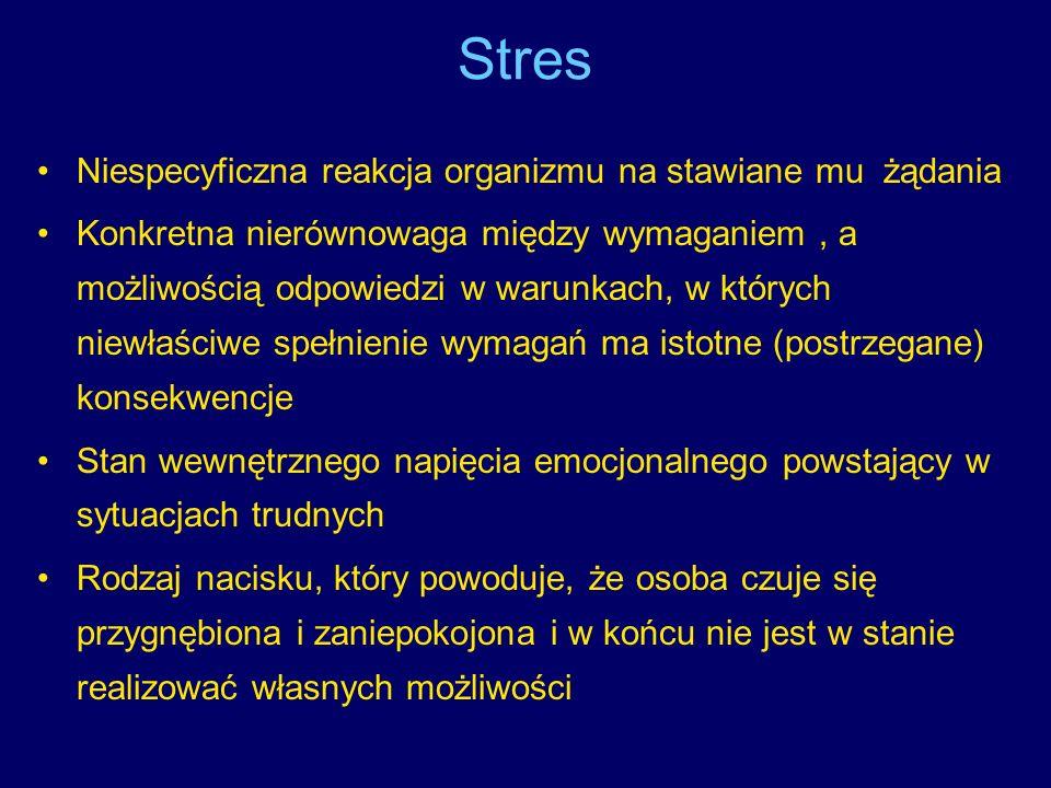 Stres Niespecyficzna reakcja organizmu na stawiane mu żądania Konkretna nierównowaga między wymaganiem, a możliwością odpowiedzi w warunkach, w któryc