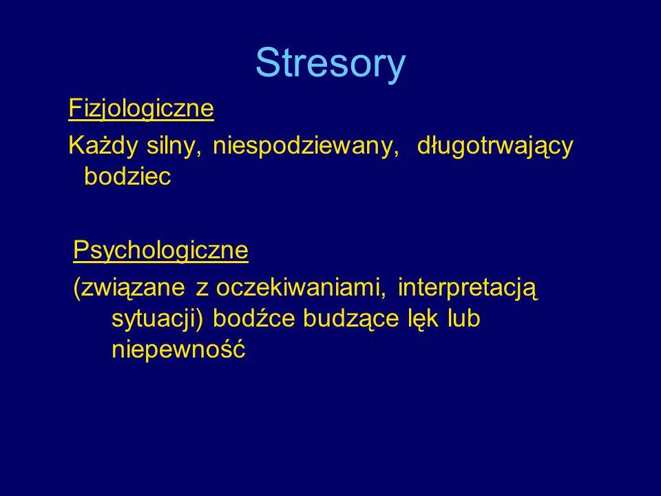 Stresory Fizjologiczne Każdy silny, niespodziewany, długotrwający bodziec Psychologiczne (związane z oczekiwaniami, interpretacją sytuacji) bodźce bud