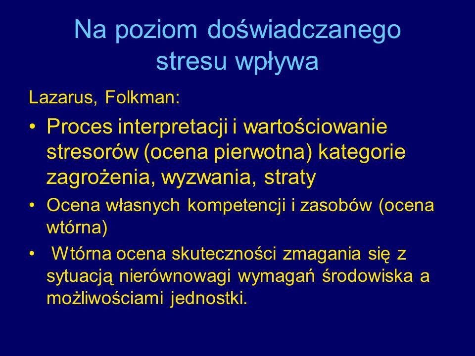 Na poziom doświadczanego stresu wpływa Lazarus, Folkman: Proces interpretacji i wartościowanie stresorów (ocena pierwotna) kategorie zagrożenia, wyzwa