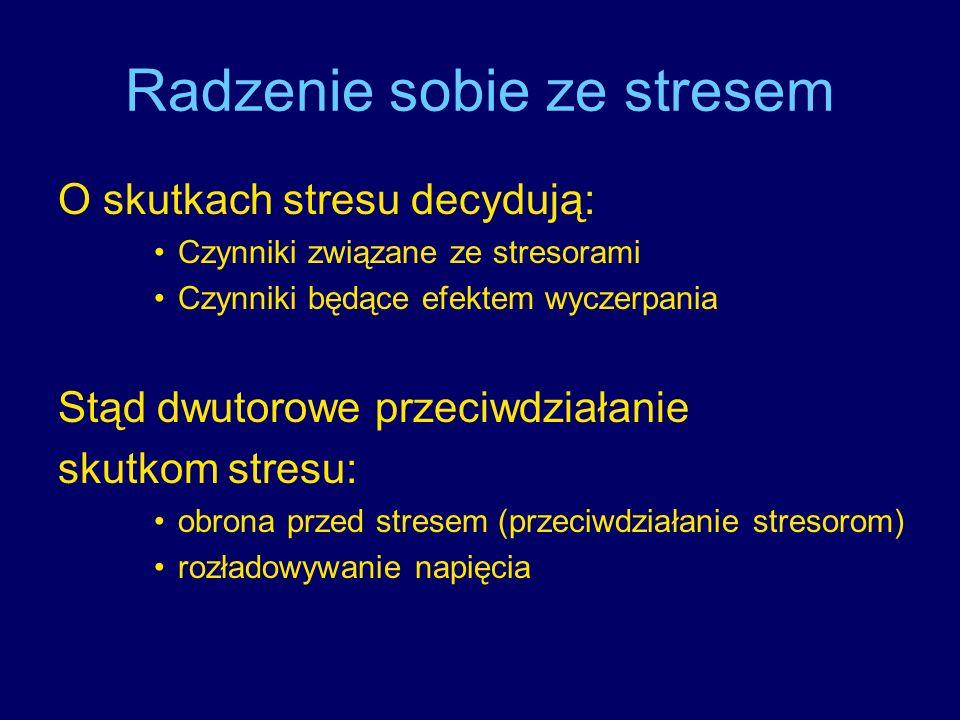 Radzenie sobie ze stresem O skutkach stresu decydują: Czynniki związane ze stresorami Czynniki będące efektem wyczerpania Stąd dwutorowe przeciwdziała