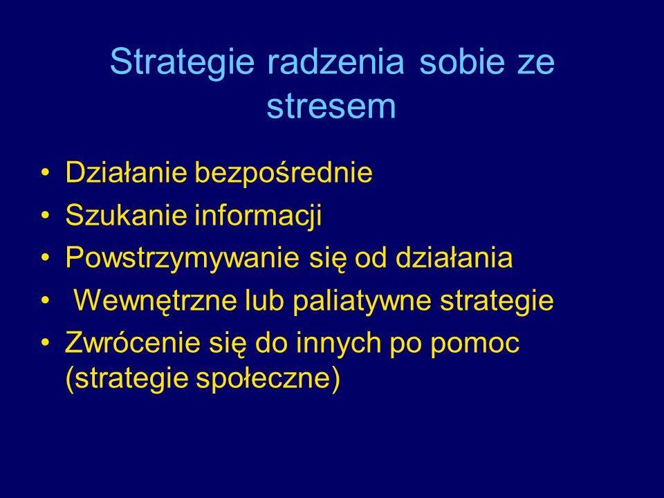 Strategie radzenia sobie ze stresem Działanie bezpośrednie Szukanie informacji Powstrzymywanie się od działania Wewnętrzne lub paliatywne strategie Zw