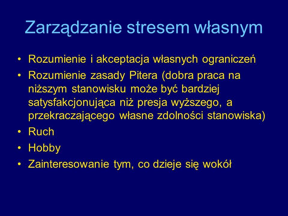 Zarządzanie stresem własnym Rozumienie i akceptacja własnych ograniczeń Rozumienie zasady Pitera (dobra praca na niższym stanowisku może być bardziej