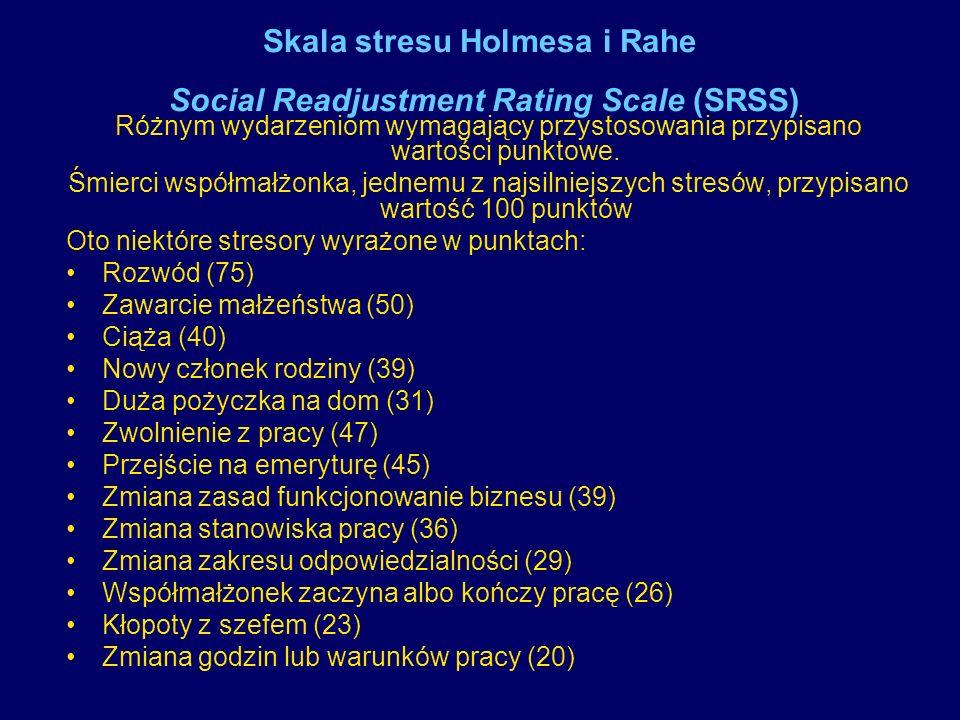 Statystyczny efekt stresorów 150 - 199 jednostek stresu = 37% szansa choroby w ciągu kolejnych 2 lat 200 - 299 jednostek stresu =51% szansa choroby ponad 300 jednostek stresu =79% szansa choroby Z badań Holmesa i Rahe wynika interesująca zależność statystyczna pomiędzy stresorami a prawdopodobieństwem zapadnięcia na poważną chorobę