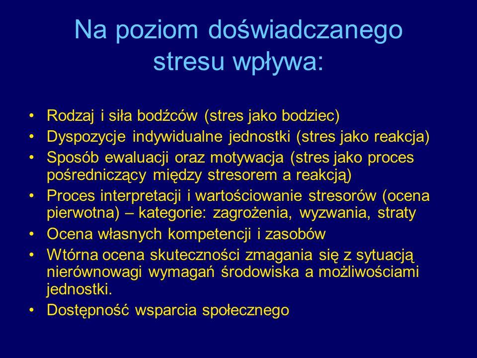 Na poziom doświadczanego stresu wpływa: Rodzaj i siła bodźców (stres jako bodziec) Dyspozycje indywidualne jednostki (stres jako reakcja) Sposób ewalu