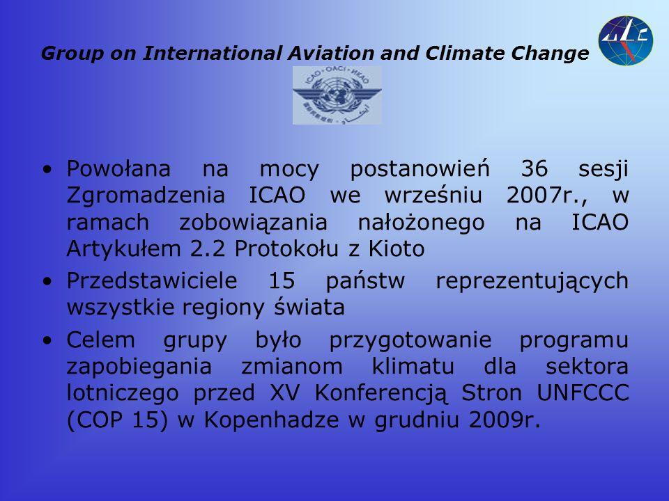 Główne założenia programu ICAO Cele: Aspirational goals dla sektora Pakiet środków: ukierunkowanie postępu technologicznego w lotnictwie poprawa efektywności operacji w powietrzu i na ziemi usprawnienia zarządzania ruchem lotniczym zastosowanie paliw alternatywnych udoskonalanie infrastruktury portów lotniczych zastosowanie mechanizmów rynkowych programy kompensacji emisji węgla - Carbon Offset Stworzenie mechanizmów pomiaru redukcji emisji