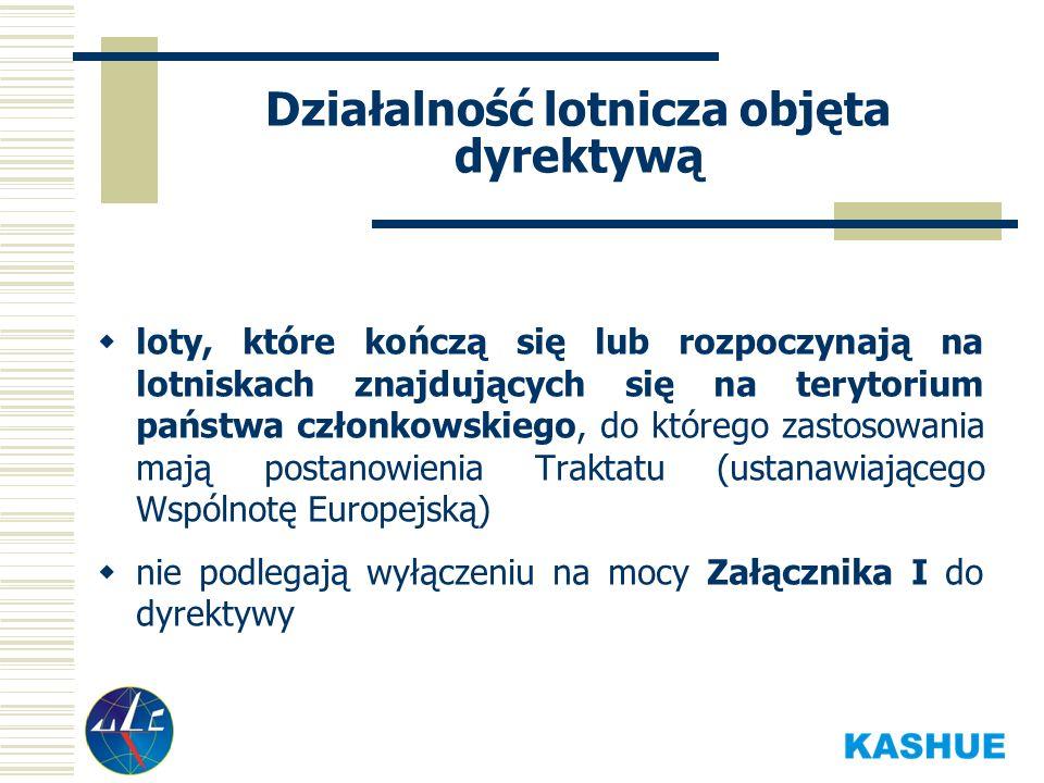 Działalność lotnicza objęta dyrektywą loty, które kończą się lub rozpoczynają na lotniskach znajdujących się na terytorium państwa członkowskiego, do którego zastosowania mają postanowienia Traktatu (ustanawiającego Wspólnotę Europejską) nie podlegają wyłączeniu na mocy Załącznika I do dyrektywy