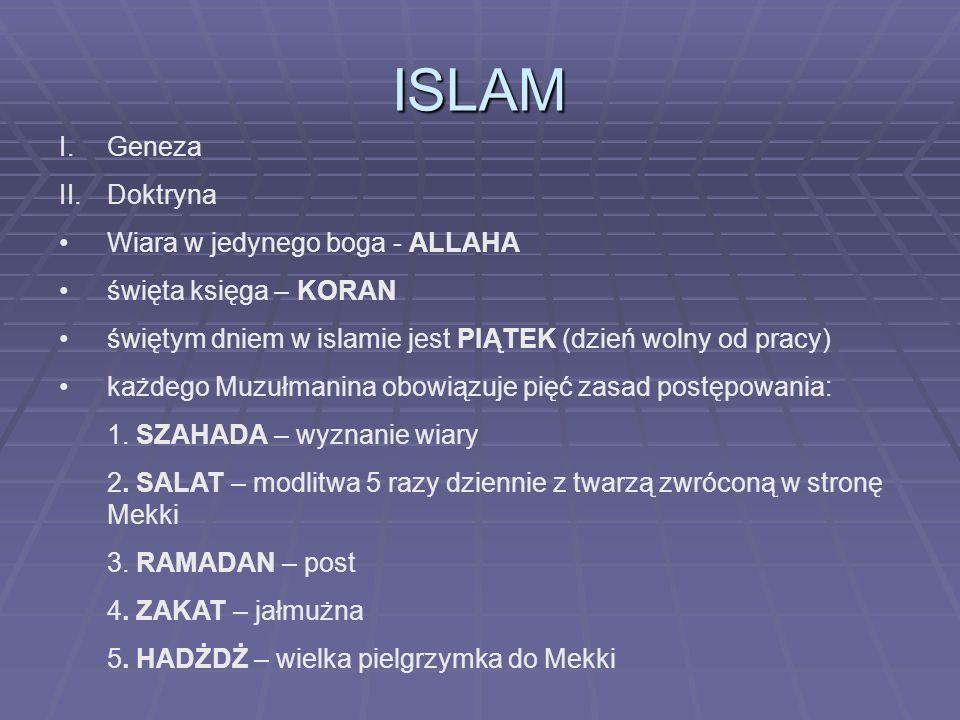 ISLAM I.Geneza II.Doktryna Wiara w jedynego boga - ALLAHA święta księga – KORAN świętym dniem w islamie jest PIĄTEK (dzień wolny od pracy) każdego Muz