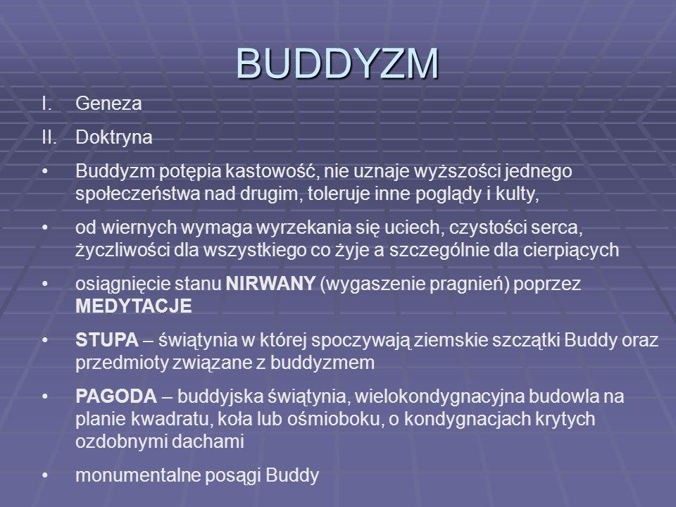 BUDDYZM I.Geneza II.Doktryna Buddyzm potępia kastowość, nie uznaje wyższości jednego społeczeństwa nad drugim, toleruje inne poglądy i kulty, od wiern