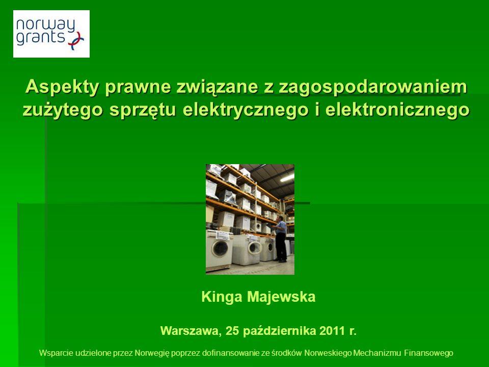 Aspekty prawne związane z zagospodarowaniem zużytego sprzętu elektrycznego i elektronicznego Kinga Majewska Warszawa, 25 października 2011 r. Wsparcie