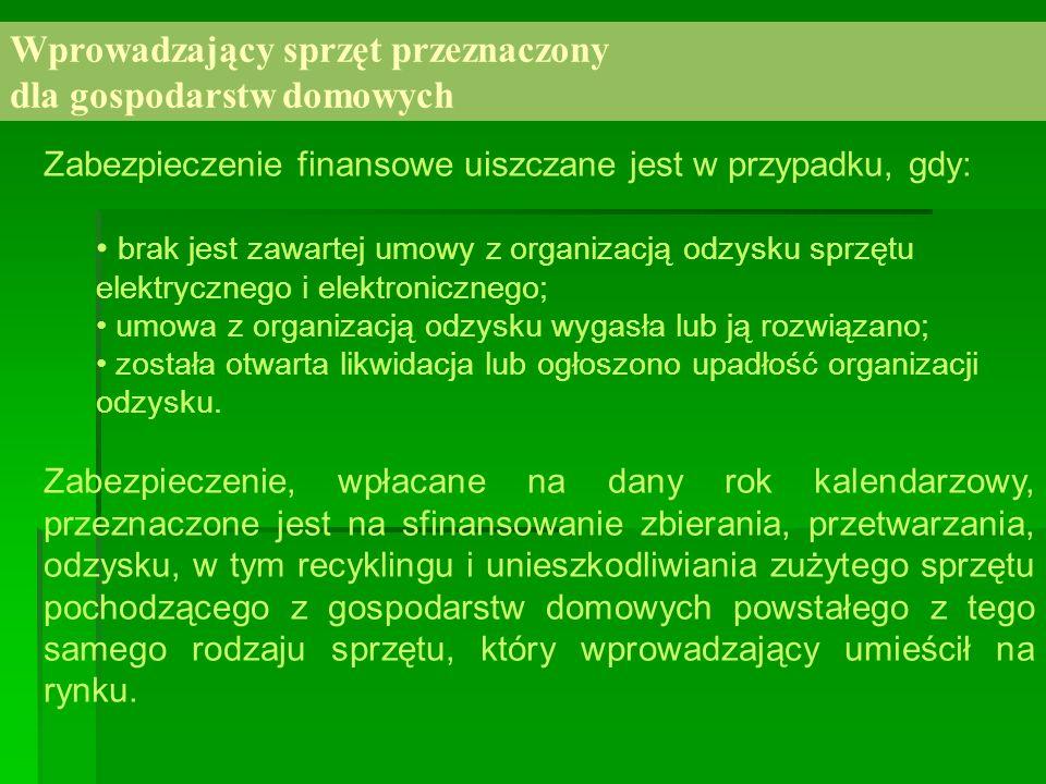 Wprowadzający sprzęt przeznaczony dla gospodarstw domowych Zabezpieczenie finansowe uiszczane jest w przypadku, gdy: brak jest zawartej umowy z organi