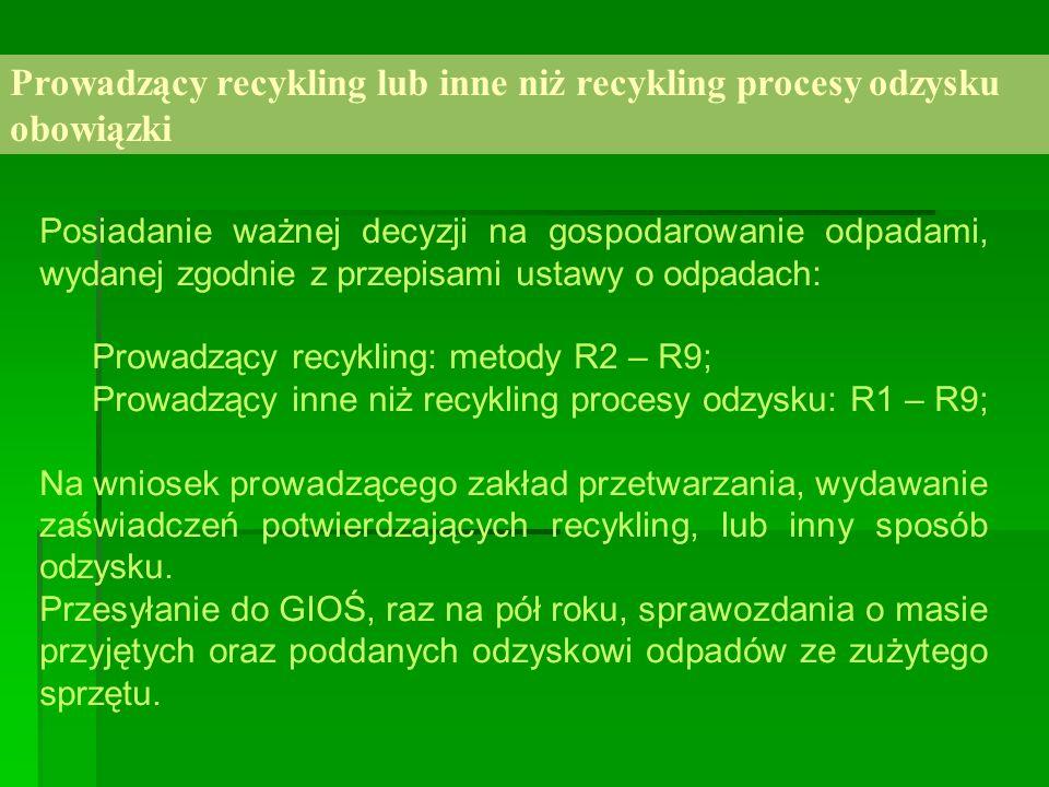 Prowadzący recykling lub inne niż recykling procesy odzysku obowiązki Posiadanie ważnej decyzji na gospodarowanie odpadami, wydanej zgodnie z przepisa