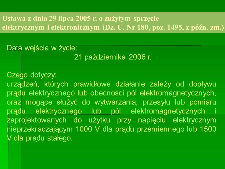 Ustawa z dnia 29 lipca 2005 r. o zużytym sprzęcie elektrycznym i elektronicznym (Dz. U. Nr 180, poz. 1495, z późn. zm.) Data Data wejścia w życie: 21